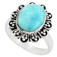 5.16cts natural blue larimar 925 silver solitaire ring jewelry size 7.5 d46583