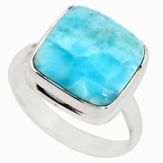 7.44cts natural blue larimar 925 silver solitaire ring jewelry size 8.5 r21441
