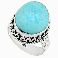 11.86cts natural blue larimar 925 silver solitaire ring jewelry size 7.5 r22347
