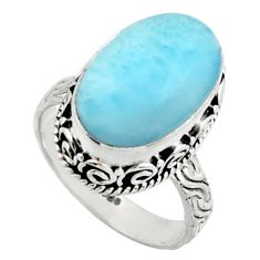 8.02cts natural blue larimar 925 silver solitaire ring jewelry size 7.5 r22351