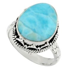 9.44cts natural blue larimar 925 silver solitaire ring jewelry size 8.5 r22354