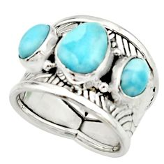 7.09cts natural blue larimar 925 silver solitaire ring jewelry size 6.5 r22392