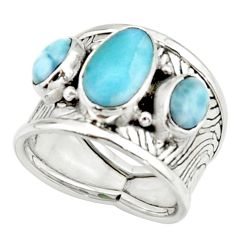 6.96cts natural blue larimar 925 silver solitaire ring jewelry size 7.5 r22393