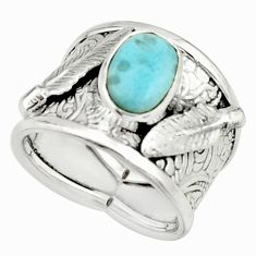 3.13cts natural blue larimar 925 silver solitaire ring jewelry size 6.5 r22396