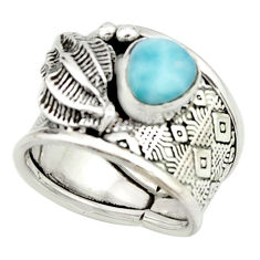 2.06cts natural blue larimar 925 silver solitaire ring jewelry size 6.5 r22397