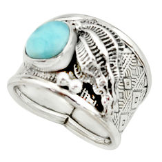 3.74cts natural blue larimar 925 silver solitaire ring jewelry size 7.5 r22409