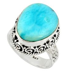 10.00cts natural blue larimar 925 silver solitaire ring jewelry size 7.5 r22703