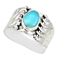 2.09cts natural blue larimar 925 silver solitaire ring jewelry size 8.5 r34443