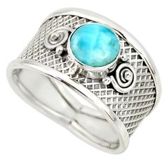 1.34cts natural blue larimar 925 silver solitaire ring jewelry size 8.5 r34661