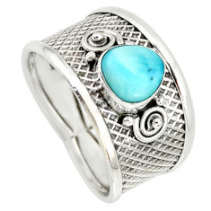 2.02cts natural blue larimar 925 silver solitaire ring jewelry size 8.5 r34665