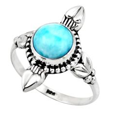 3.03cts natural blue larimar 925 silver solitaire ring jewelry size 8.5 r41421