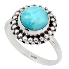 3.09cts natural blue larimar 925 silver solitaire ring jewelry size 7.5 r41447
