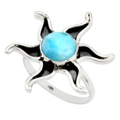 3.26cts natural blue larimar 925 silver solitaire ring jewelry size 7.5 r41461