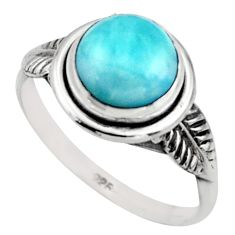 2.87cts natural blue larimar 925 silver solitaire ring jewelry size 7.5 r41502