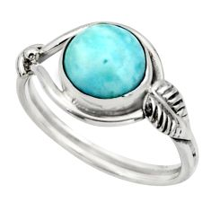 3.05cts natural blue larimar 925 silver solitaire ring jewelry size 7.5 r41521