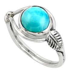 3.29cts natural blue larimar 925 silver solitaire ring jewelry size 8.5 r41523