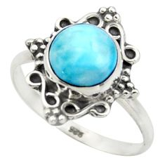 2.82cts natural blue larimar 925 silver solitaire ring jewelry size 7.5 r41566