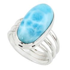7.92cts natural blue larimar 925 silver solitaire ring jewelry size 6.5 r48087
