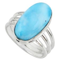 8.14cts natural blue larimar 925 silver solitaire ring jewelry size 8.5 r48090