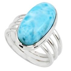 8.42cts natural blue larimar 925 silver solitaire ring jewelry size 7.5 r48095