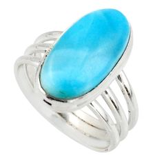 8.41cts natural blue larimar 925 silver solitaire ring jewelry size 8.5 r48098