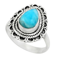 2.41cts natural blue larimar 925 silver solitaire ring jewelry size 7.5 r52426