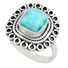 3.13cts natural blue larimar 925 silver solitaire ring jewelry size 7.5 r52430