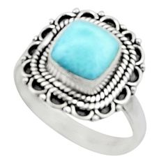 3.19cts natural blue larimar 925 silver solitaire ring jewelry size 8.5 r52433
