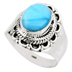 3.51cts natural blue larimar 925 silver solitaire ring jewelry size 6.5 r53541