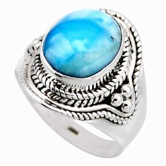 4.92cts natural blue larimar 925 silver solitaire ring jewelry size 6.5 r53543