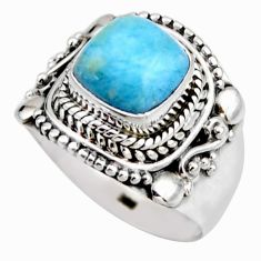 3.35cts natural blue larimar 925 silver solitaire ring jewelry size 6.5 r53546