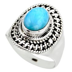 3.19cts natural blue larimar 925 silver solitaire ring jewelry size 6.5 r53550