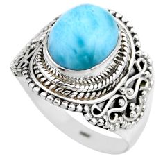 4.21cts natural blue larimar 925 silver solitaire ring jewelry size 7.5 r53563