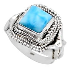 3.53cts natural blue larimar 925 silver solitaire ring jewelry size 7.5 r53574