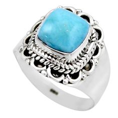 3.50cts natural blue larimar 925 silver solitaire ring jewelry size 6.5 r53575