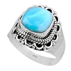 5.11cts natural blue larimar 925 silver solitaire ring jewelry size 7.5 r53581