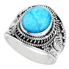 5.18cts natural blue larimar 925 silver solitaire ring jewelry size 8.5 r53647