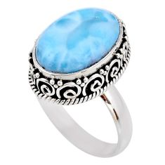 9.63cts natural blue larimar 925 silver solitaire ring jewelry size 8.5 r53771