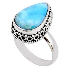 9.10cts natural blue larimar 925 silver solitaire ring jewelry size 7.5 r53772