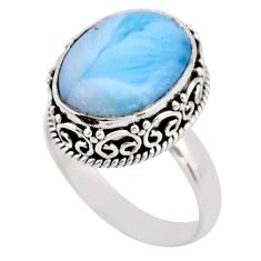 7.66cts natural blue larimar 925 silver solitaire ring jewelry size 8.5 r53775