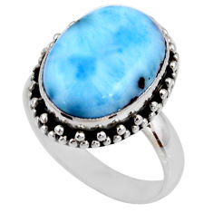 7.03cts natural blue larimar 925 silver solitaire ring jewelry size 7.5 r53788