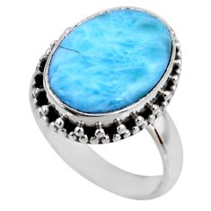 7.04cts natural blue larimar 925 silver solitaire ring jewelry size 7.5 r53789