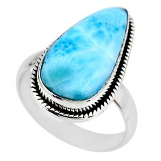 7.41cts natural blue larimar 925 silver solitaire ring jewelry size 7.5 r53802