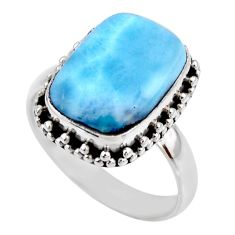 6.53cts natural blue larimar 925 silver solitaire ring jewelry size 8.5 r53807