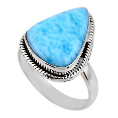 9.54cts natural blue larimar 925 silver solitaire ring jewelry size 8.5 r53817