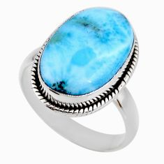 8.06cts natural blue larimar 925 silver solitaire ring jewelry size 8.5 r53826