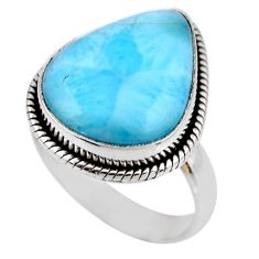 11.55cts natural blue larimar 925 silver solitaire ring jewelry size 7.5 r53827