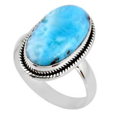 7.82cts natural blue larimar 925 silver solitaire ring jewelry size 7.5 r53837
