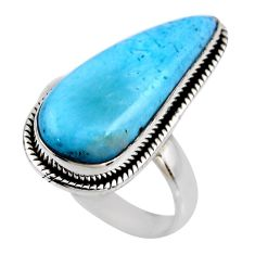 7.89cts natural blue larimar 925 silver solitaire ring jewelry size 7.5 r53839