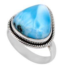 9.54cts natural blue larimar 925 silver solitaire ring jewelry size 7.5 r53840